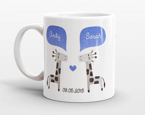 GIRAFFE Couple Mug Personalized Wedding Gift for Couple Engagement Gift Ideas Anniversary Gift for Men Women Husband Him Her Coffee Mug