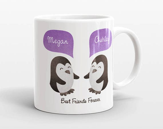 Best Friend Gift, Penguin Mug, Personalized Best Friend Mug, Animal Best Friend Coffee Mug, Unique Friendship Gift Best Friend Birthday Gift