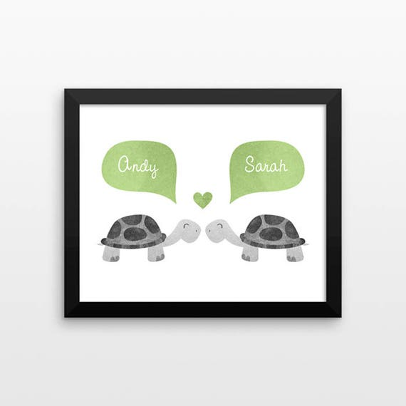 TURTLE Couple Wall Art Print Decor Personalized Wedding Gift for Couple Gift Engagement Gift Idea Anniversary Gift for Wife Husband Her Him