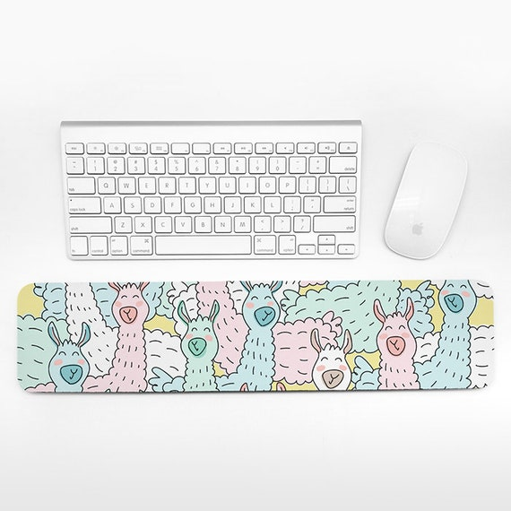 Llama Keyboard Wrist Rest Pad, Pastel Wrist Keyboard Rest, Alpaca Wrist Pad for Keyboard Pad, Fun Cute Animal Desk Cubicle Decor for Women