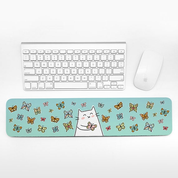 Cat Butterfly Keyboard Wrist Rest Pad, Blue Wrist Keyboard Pad, Wrist Pad for Keyboard Rest, Cute Decor Office Desk Accessories for Women