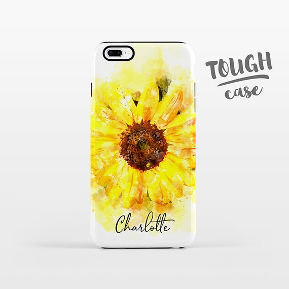 Watercolor Sunflower NAME Personalized iPhone Case Custom iPhone X Case iPhone 8 Case iPhone 7 Plus Case iPhone 6 Plus iPhone SE Floral