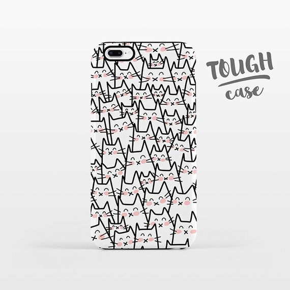 Cat Phone Case iPhone 8 Plus Case iPhone X Case iPhone 7 Case iPhone 8 Case iPhone SE Case 6 6s 5s 5c 5 4 Black White iPhone Case TOUGH