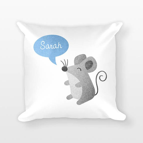 Custom Name Pillow, Mouse Pillow, Personalized Pillow, Birthday Gift for Her, Kids Room Decor, Animal Throw Pillow, Decorative Pillow