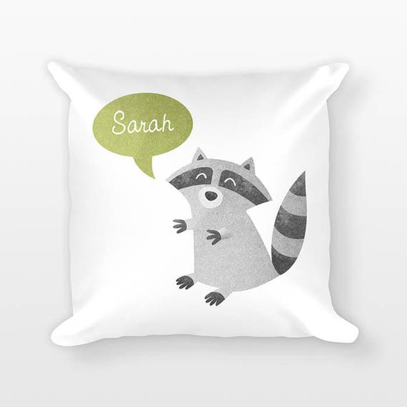 Personalized Pillow, Raccoon Pillow, Custom Name Pillow, Gift for Kids, Kids Room Decor, Woodland Animal Pillow, Decorative Throw Pillow