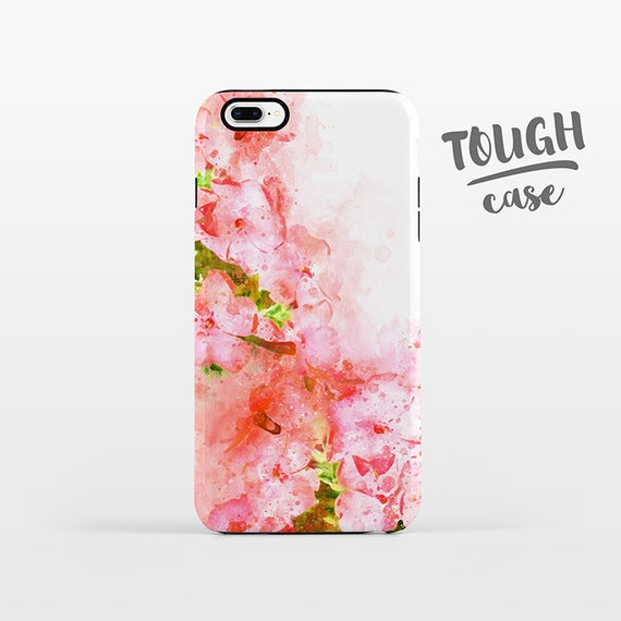 Watercolor Floral iPhone Case iPhone 8 Plus Case iPhone X Case iPhone 7 Case iPhone 8 Case iPhone 6 Plus Case 6s SE 5s 5c Coral Pink Flower
