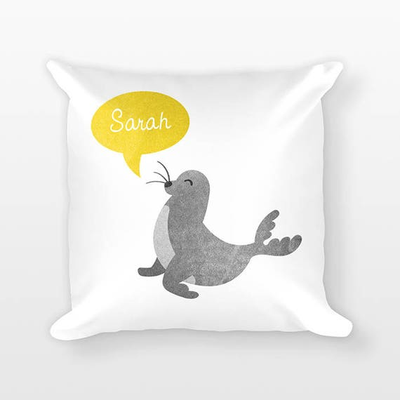 Custom Name Pillow, Seal Pillow, Personalized Pillow, Birthday Gift for Her, Kids Room Decor, Sea Animal Throw Pillow, Decorative Pillow