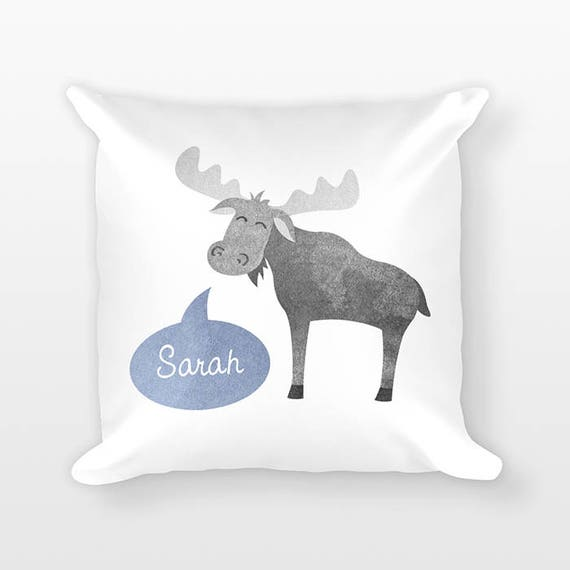 Personalized Pillow, Moose Pillow, Custom Name Pillow, Birthday Gift for Friend, Kids Room Decor, Animal Pillow, Decorative Throw Pillow