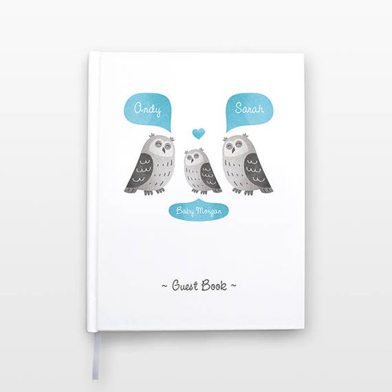 OWL Baby Shower Guest Book, Personalized Baby Book, Animal Baby Guestbook, New Baby Gift, Baby Journal, Baby Notebook, Baby Guest Book