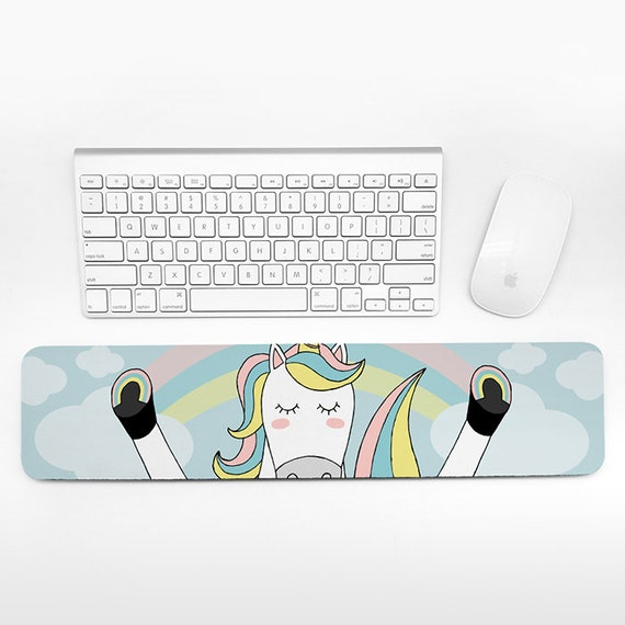 Unicorn Keyboard Wrist Rest Rainbow Wrist Pad Fun Funny Cute Unicorn Gift for Women Desk Accessories Pastel Cubicle Decor Office Supplies