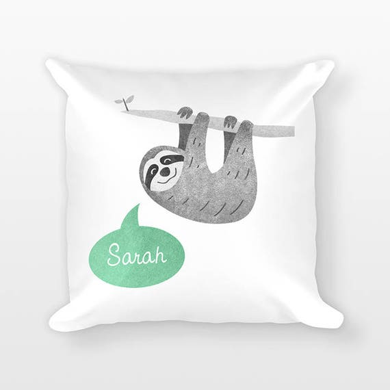 Sloth Pillow, Custom Name Pillow, Personalized Pillow, Birthday Gift for Daughter, Kids Room Decor, Animal Throw Pillow, Decorative Pillow