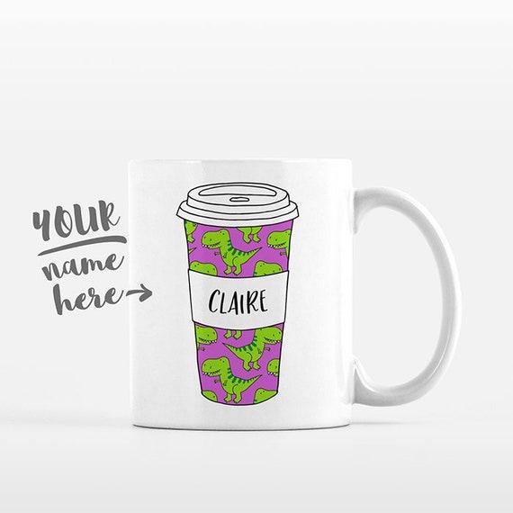 T-Rex Dinosaur Coffee Mug Pattern Tumbler Cup Drawing Personalized Mug Custom Coffee Cup Name Mug Personalized Gift for Kids Gift for Girl