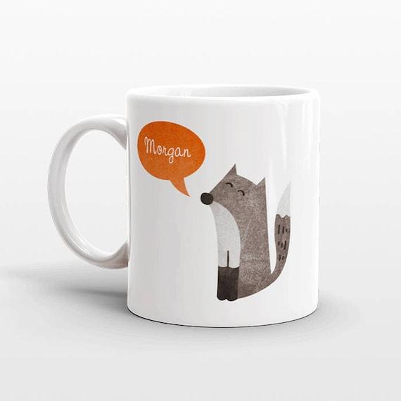 Custom Name Coffee Mug Fox Gift Idea for Women Men Her Him Mom Dad Adult Kid Fox Lover Best Friend Birthday Teacher Gift Personalized
