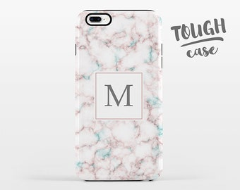 Marble Monogram iPhone Case Personalized Custom iPhone X Case iPhone 8 Case iPhone 7 Plus Case iPhone 6 Plus iPhone 6S Pink Aqua TOUGH