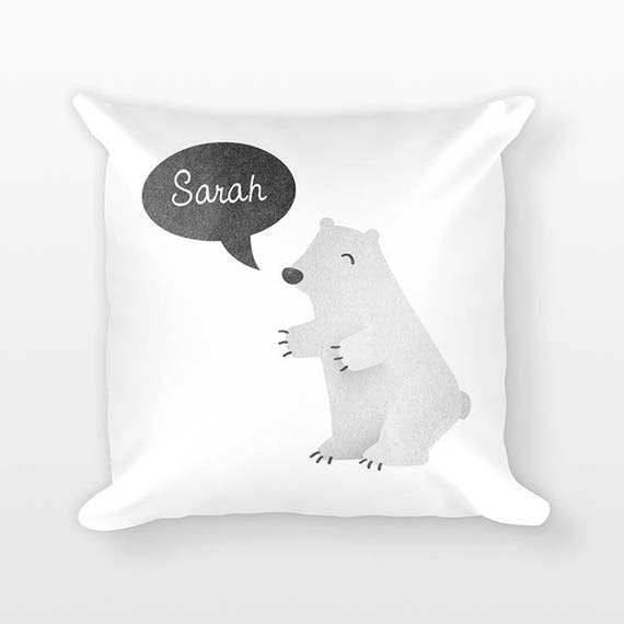 Custom Name Pillow, Polar Bear Pillow, Personalized Pillow, Birthday Gift for Daughter, Kids Room Decor, Decorative Animal Throw Pillow