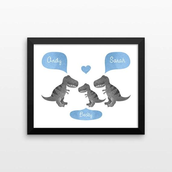 T-REX Dinosaur Nursery Art, Baby Kids Room Decor, Animal Nursery Decor, Personalized Nursery Wall Art, Baby Shower Gift, Nursery Print