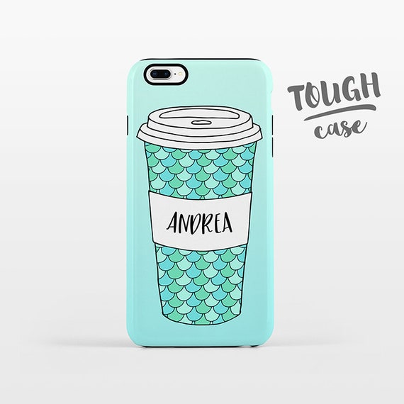 Mermaid Mug Coffee iPhone Case NAME Personalized Phone Case Custom iPhone 8 Plus Case iPhone X Case iPhone 7 Case iPhone 6 Plus iPhone 6s SE
