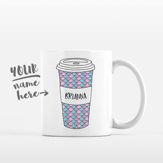 Mermaid Mug Scales Pattern Travel Mug Drawing Personalized Coffee Mug Custom Mug Name Coffee Cup Personalized Gift for Girl Gift for Women