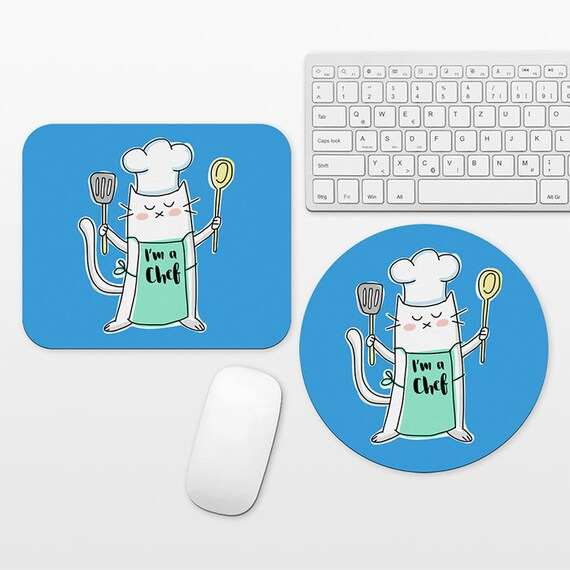 Chef Cat Mouse Pad Occupation Mousepad Funny Foodie Mouse Mat Chef Office Decor Chef Gift Cook Gift Culinary Graduation Gift for Women Men
