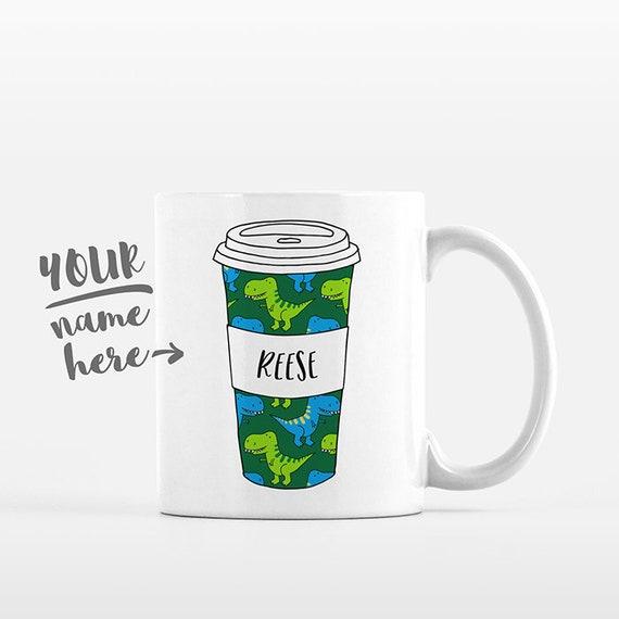 T-Rex Dinosaur Mug Pattern Travel Mug Drawing Personalized Coffee Mug Custom Mug Name Coffee Cup Personalized Gift for Boyfriend for Dad
