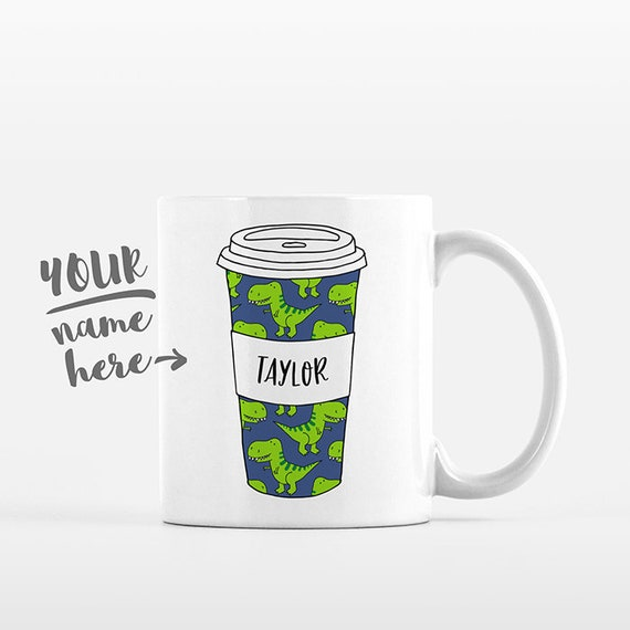 T-Rex Dinosaur Mug Pattern Tumbler Cup Drawing Personalized Mug Custom Coffee Mug Name Coffee Cup Personalized Gift for Kids Gift for Boys