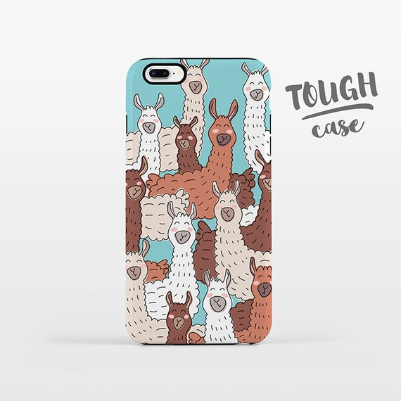 Llama iPhone Case iPhone X Case iPhone 8 Plus Case iPhone 7 Plus Case iPhone 6 Case iPhone 6S Case SE 5s 5c 5 4 Alpaca Blue Phone Case TOUGH