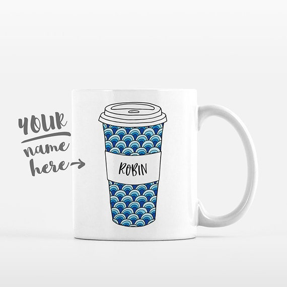 Waves Coffee Mug Pattern Tumbler Cup Drawing Personalized Mug Custom Coffee Cup Name Mug Personalized Gift for Friend Coffee Gift for Her