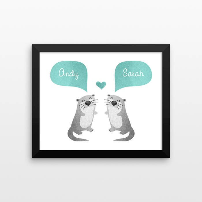 Otter Couple Wall Art Print Decor Personalized Engagement Gift For