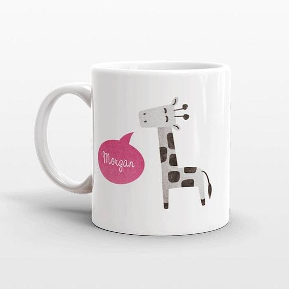 personnalis du nom de tasse caf girafe id e de cadeau pour etsy. Black Bedroom Furniture Sets. Home Design Ideas