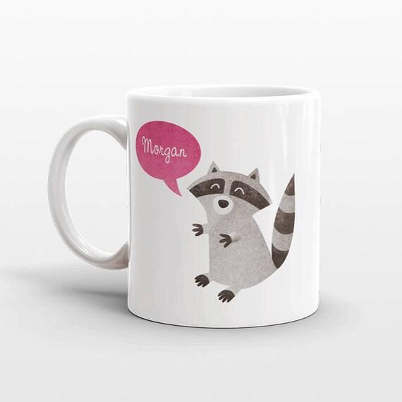 Custom Name Coffee Mug Raccoon Gift Idea for Women Men Her Him Mom Dad Adult Kid Racoon Lover Best Friend Birthday Teacher Gift Personalized