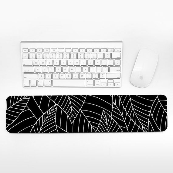 Leaves Keyboard Wrist Rest Pad Black and White Wrist Keyboard Rest Leaf Wrist Pad for Keyboard Pad Cute Desk Cubicle Decor for Women Men