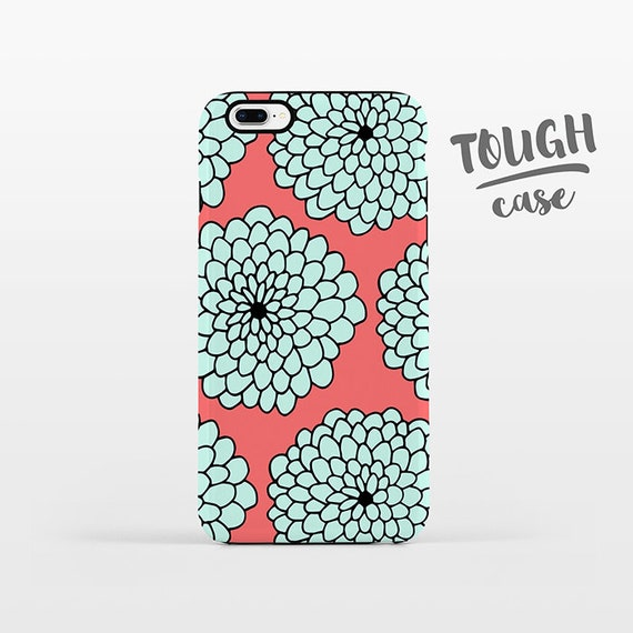 Floral Phone Case iPhone X Case iPhone 8 Plus Case iPhone 7 Plus Case iPhone 6 Case iPhone 6S Case SE 5s 5c 5 Mint Coral Large Flowers TOUGH