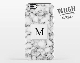Marble Monogram iPhone Case Custom Personalized iPhone 8 Plus Case iPhone X Case iPhone 7 Case iPhone 6 Plus iPhone 6s Black and White TOUGH