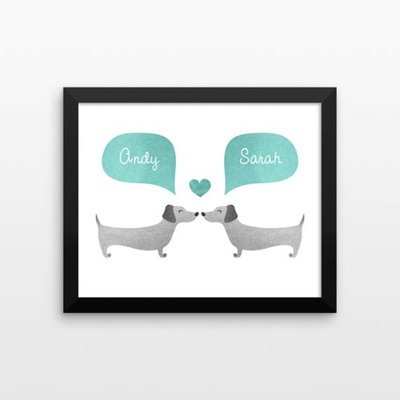 DACHSHUND Wiener Dog Couple Wall Art Print Decor Personalized Engagement Gift for Couple Wedding Gift Idea Anniversary Gift for Men Women