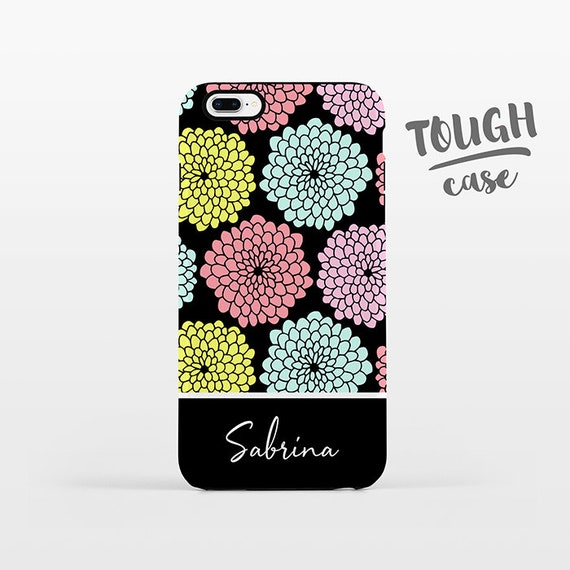 Floral NAME Custom Phone Case Personalized iPhone X Case iPhone 8 Case iPhone 7 Plus Case iPhone 6 Plus iPhone 6S Flowers iPhone Case TOUGH