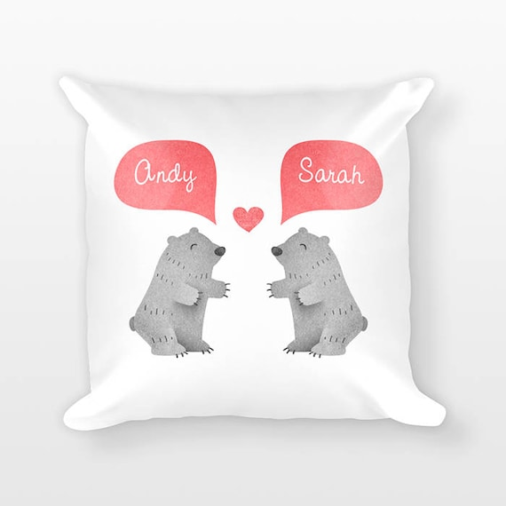 GRIZZLY BEAR Pillow, Animal Couple Pillow, Personalized Pillow, Couples Gift, Love Pillow, Custom Throw Pillow, Decorative Pillow for Bed