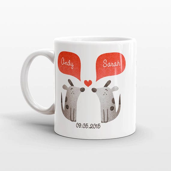 DOG Couple Mug Personalized Wedding Gift for Couple Engagement Gift Ideas Anniversary Gift for Men Women Husband Him Her Dog Coffee Mug