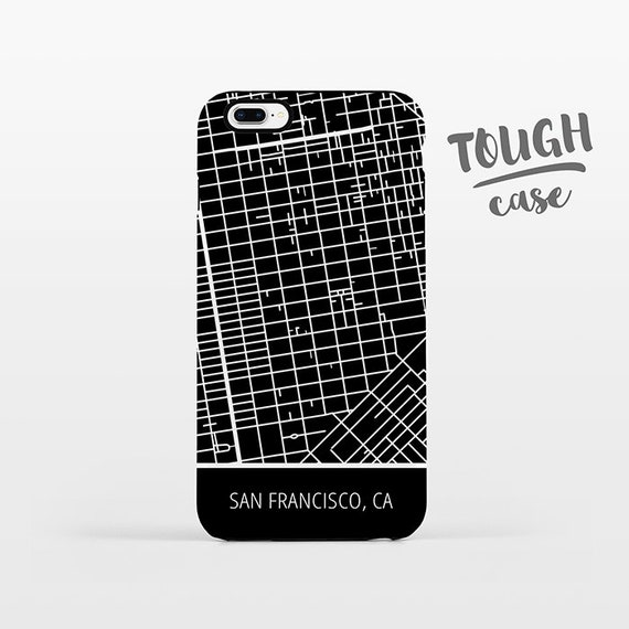 San Francisco City CA California Map iPhone Case iPhone X iPhone 8 Plus iPhone 7 Plus iPhone 6 Plus iPhone 6s iPhone SE 5 5s 5c 4 4s TOUGH