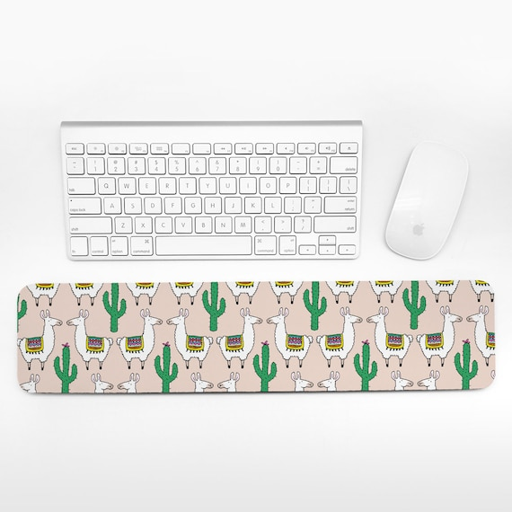Llama and Cactus Keyboard Wrist Rest Pad Beige Wrist Keyboard Rest Alpaca Wrist Pad for Keyboard Pad Cute Desk Decor Cubicle Decor for Women