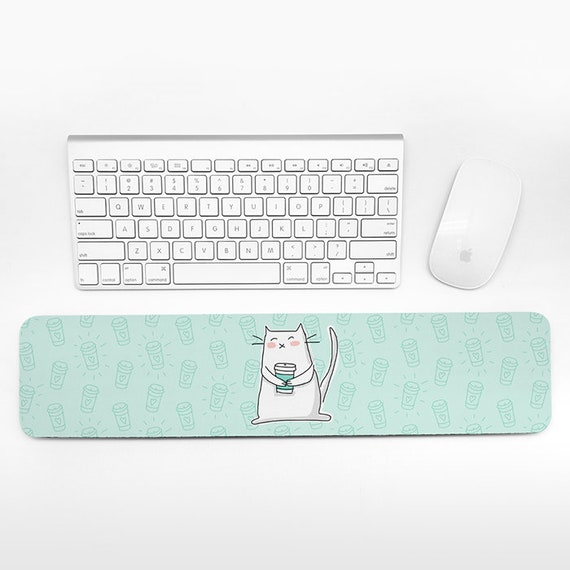 Cat Coffee Keyboard Wrist Pad Rest, Mint Green Wrist Keyboard Rest, Coffee Cat Wrist Rest for Keyboard Pad, Cute Desk Office Decor for Women