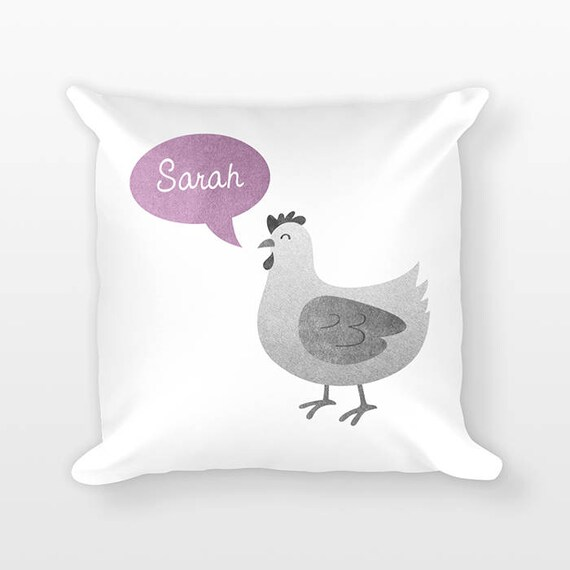Custom Name Pillow, Chicken Pillow, Personalized Pillow, Birthday Gift for Daughter, Kids Room Decor, Animal Throw Pillow, Decorative Pillow