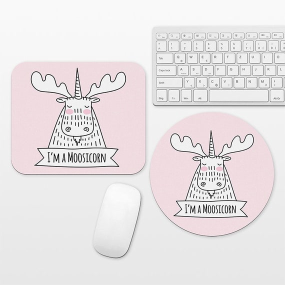 Moosicorn Moose Unicorn Mouse Pad Pink Mousepad, Cute Funny Mouse Mat, Circle Round Rectangular, Cubicle Decor Desk Office Decor for Women