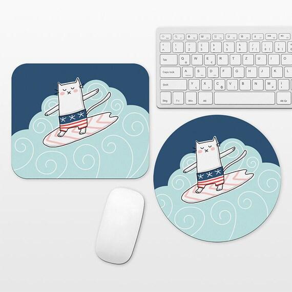 Surfer Cat Mouse Pad, Surf Mousepad, Navy Blue Cute Mouse Mat, Round Rectangular, Surfing Desk Decor Office Desk Accessories for Men Women