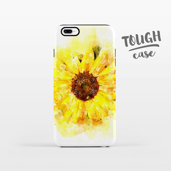 Watercolor Sunflower Phone Case iPhone X Case iPhone 8 Plus Case iPhone 7 Plus Case iPhone 6 Case iPhone 6S Case SE 5s 5c 5 4 Floral TOUGH