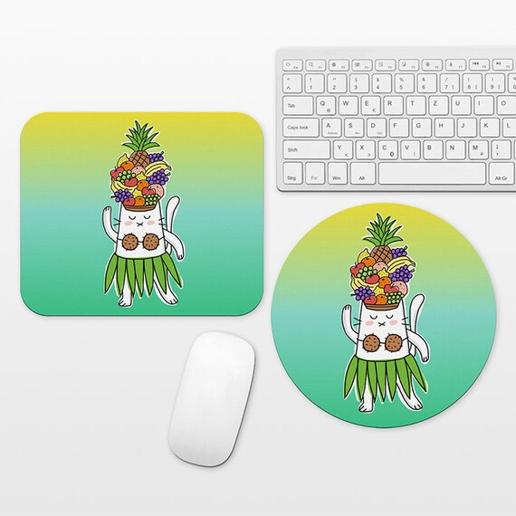 Tropical Mouse Pad Fruits Hawaiian Dancer Cat Mousepad Colorful Funny Mouse Pad Cute Mouse Mat Round Rectangular Cubicle Desk Office Decor
