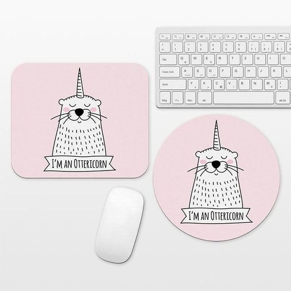 Ottericorn Otter Unicorn Mouse Pad Pink Mousepad Funny Cute Mouse Mat Circle Round Rectangular, Desk Decor Office Desk Accessories for Women
