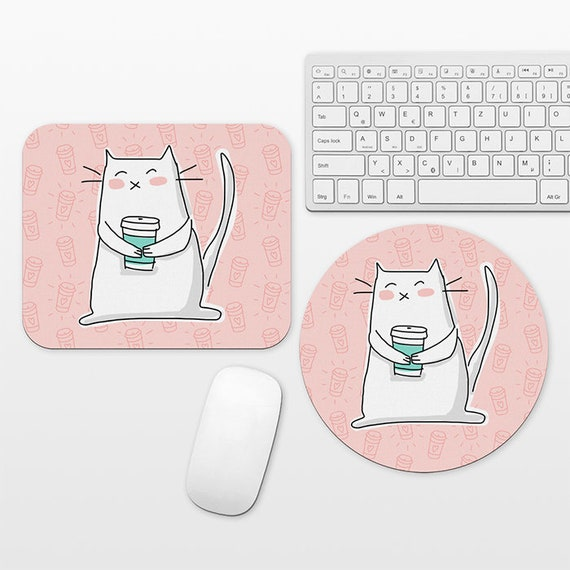 Cat Coffee Mouse Pad Coffee Cat Mousepad, Pink Mouse Pad Cute Mouse Mat, Round Rectangular, Desk Decor Office Desk Accessories for Women