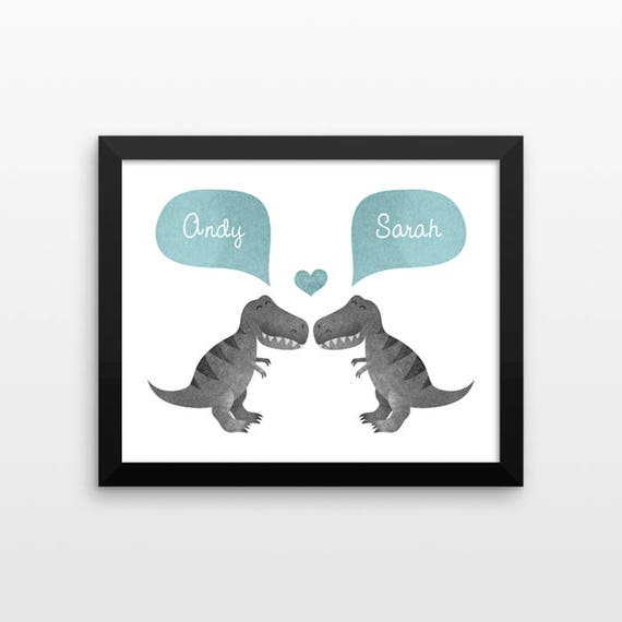 T-REX Dinosaur Couple Wall Art Print Decor Personalized Engagement Gift for Couple Wedding Gift Idea Anniversary Gift for Men Women Him Her