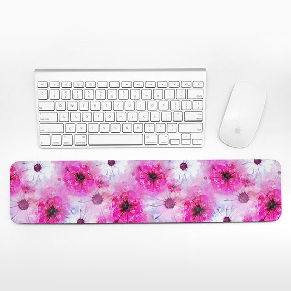 Watercolor Floral Keyboard Wrist Rest Pad Pink Wrist Keyboard Rest Flowers Wrist Pad for Keyboard Pad Cute Desk Cubicle Decor for Women Gift