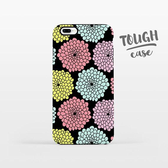 Floral Phone Case iPhone X Case iPhone 8 Plus Case iPhone 7 Plus Case iPhone 6 Case iPhone 6S Case 5s 5c 5 4 Black Pastel Flower iPhone Case